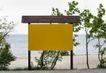 报板卡片0077,报板卡片,静物,黄色 招牌 海边