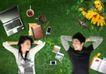 商业0097,商业,实用分层素材,睡草地上 情侣 笔记本