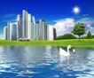 商业0115,商业,实用分层素材,高楼 别墅  天鹅 湖面