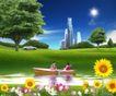 商业0117,商业,实用分层素材,小河  绿树  高楼