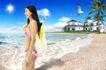 商业0131,商业,实用分层素材,女郎 海滩 比基尼