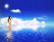 商业0141,商业,实用分层素材,蓝天 蓝色海洋 女人