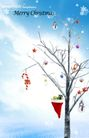圣诞0015,圣诞,实用分层素材,干枯枝桠 红色圣诞帽 挂满礼物