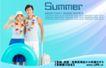 夏天0019,夏天,实用分层素材,大泳圈 花环 在海边