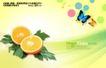 水果0011,水果,实用分层素材,橘子 彩蝶 绿叶映衬 春天气息