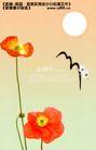 鲜花0015,鲜花,实用分层素材,圆日 仙鹤飞过 桔红花瓣