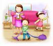 家庭0245,家庭,日韩盛典,吸尘器 做家务 妈妈