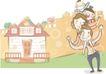 情人节0184,情人节,日韩盛典,彩绘人物 小房子 甜蜜的一家