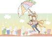 情人节0185,情人节,日韩盛典,撑起大伞 城市上空 降落