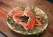 四季美食0173,四季美食,饮食水果,竹盘 蟹脚 桌子