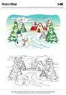 城乡景观0028,城乡景观,综合,松树 雪人 房子