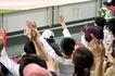 足球运动场0052,足球运动场,综合,观众台 观众背影 举起手