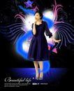 人物0011,人物,韩国设计元素,时尚女郎 紫色裙子 优雅女性