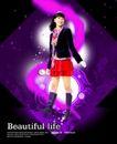 人物0012,人物,韩国设计元素,淑女风尚 红裙子 靴子