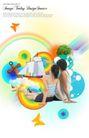 人物0030,人物,韩国设计元素,坐在一起 看彩虹