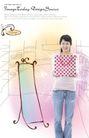 人物0048,人物,韩国设计元素,手托 购物袋 落地镜