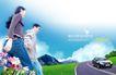 人物风景0091,人物风景,韩国设计元素,一男一女 牵手 公路边