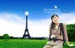 人物风景0095,人物风景,韩国设计元素,铁塔 草坪 坐一女士