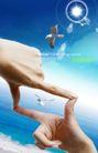 人物风景0097,人物风景,韩国设计元素,海鸥 海水 两手食拇指交叉