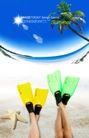 人物风景0102,人物风景,韩国设计元素,脚蹼 海星