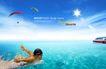 人物风景0117,人物风景,韩国设计元素,游泳 太阳 大海