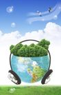 人物风景0131,人物风景,韩国设计元素,耳麦 地球 蓝天