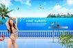 人物风景0139,人物风景,韩国设计元素,美女 别墅 湖边
