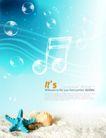 人物风景0140,人物风景,韩国设计元素,乐符 贝壳 海水