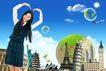 人物风景0143,人物风景,韩国设计元素,少女 学生服 爱心手势