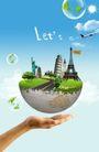 人物风景0144,人物风景,韩国设计元素,托起 手掌 地球