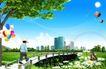 人物风景0146,人物风景,韩国设计元素,荷花池 彩虹 热气球