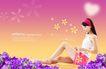 健美0007,健美,韩国设计元素,坐地上 心型 夏装
