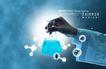医疗0009,医疗,韩国设计元素,拿着 研究 蓝色液体