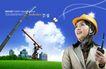 建筑师0002,建筑师,韩国设计元素,安全帽 房屋 蓝天