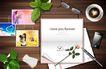 桌面书签0052,桌面书签,韩国设计元素,玫瑰 情书