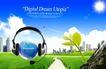 电子科技0107,电子科技,韩国设计元素,耳机 绿芽 太阳