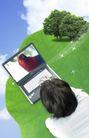 电子科技0145,电子科技,韩国设计元素,树叶 鹦鹉 笔记本