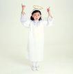 儿戏童年0054,儿戏童年,儿童,白色小天使 头顶光圈 竖起手指