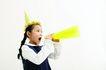 儿童广告0093,儿童广告,儿童,喇叭 尖帽子 呐喊