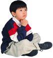 幻想儿童0099,幻想儿童,儿童,坐地上 手托下巴 盘腿