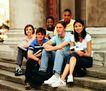 成长岁月0057,成长岁月,儿童,校园生活 坐在台阶上 同学留影