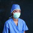 医学人员0014,医学人员,医学医药,蓝色工作服 绿色口罩