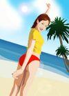 分层插画0011,分层插画,电脑合成,海边插画 去海边