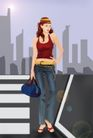 分层插画0014,分层插画,电脑合成,提着包 城市女郎