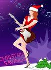 分层插画0046,分层插画,电脑合成,圣诞帽 抱着吉他