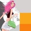 分层插画0048,分层插画,电脑合成,粉色头发 绿色挎包