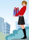 分层插画0050,分层插画,电脑合成,大礼盒 黑色靴子 短裙