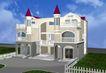 宾馆酒店模型0037,宾馆酒店模型,装饰,天空 云朵 别墅