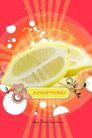 水果0005,水果,行业设计精选,柠檬 剖开 花朵