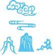 古典云纹0102,古典云纹,中华图片,蓝色 石山 自然